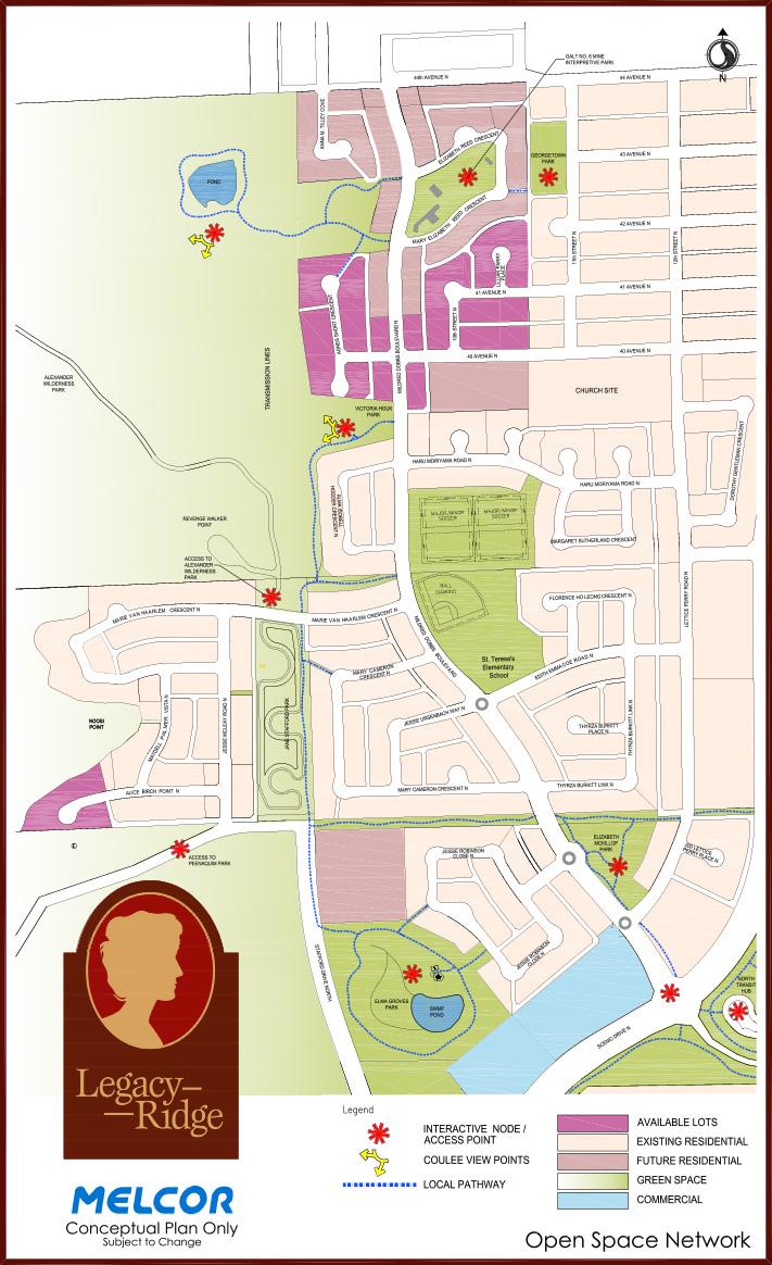Map of Legacy Ridge Lethbridge Communities